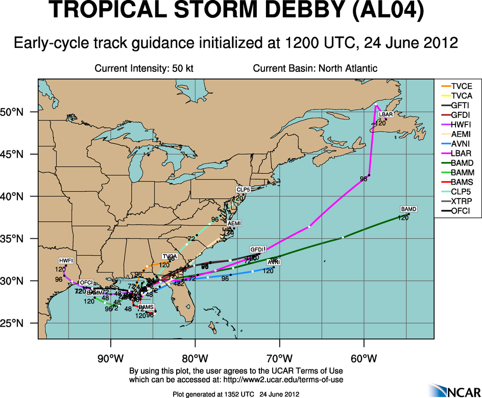 Tropical storm Debby dumping rain on Florida Gulf Coast, future ...