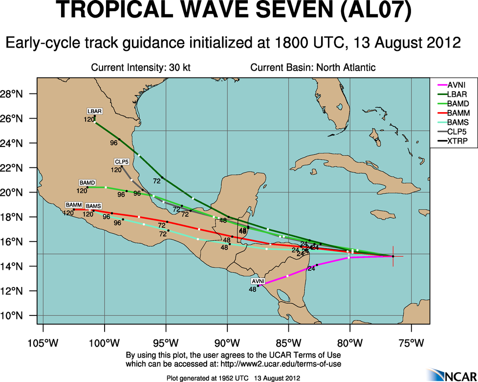 TROUBLE IN THE TROPICS, Coming Soon to a Body of Water near you..... Aal07_2012081318_track_early