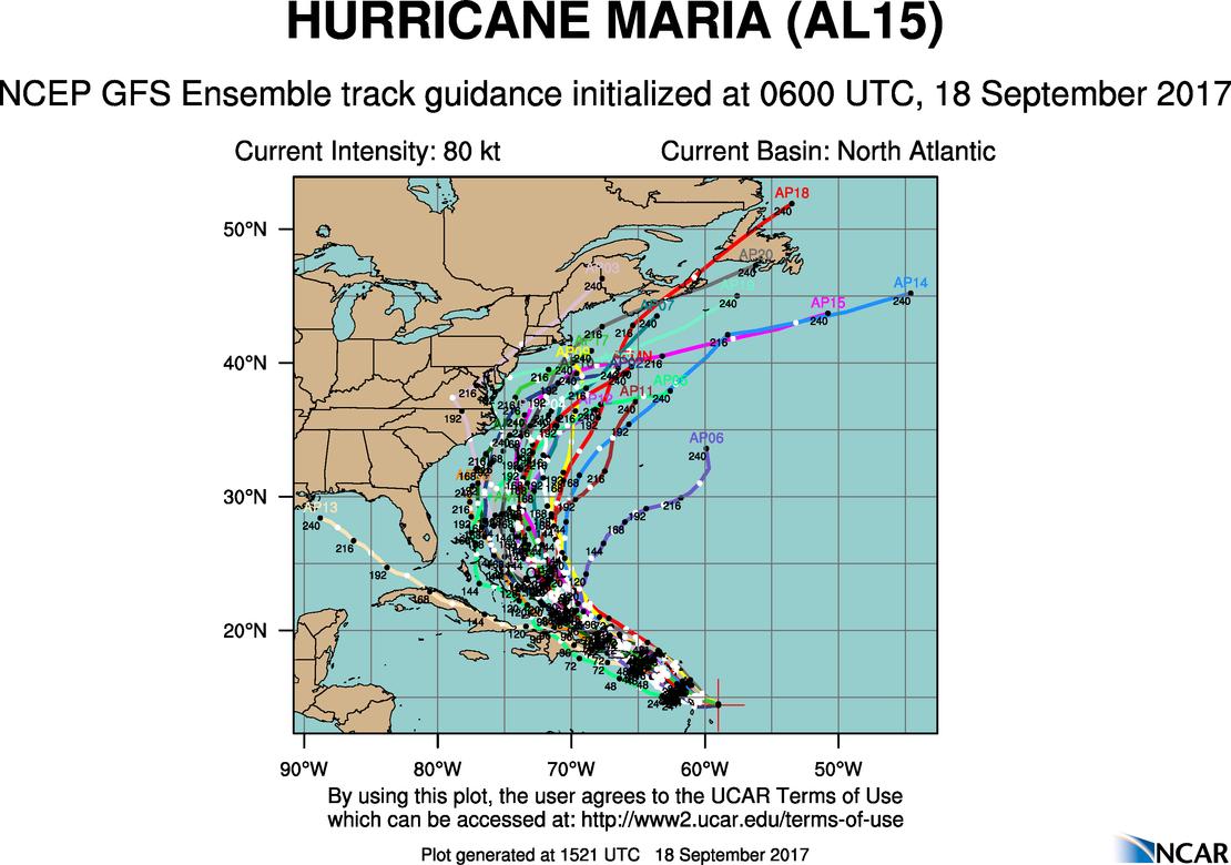 hurricane maria spaghetti models  storm track update  sept