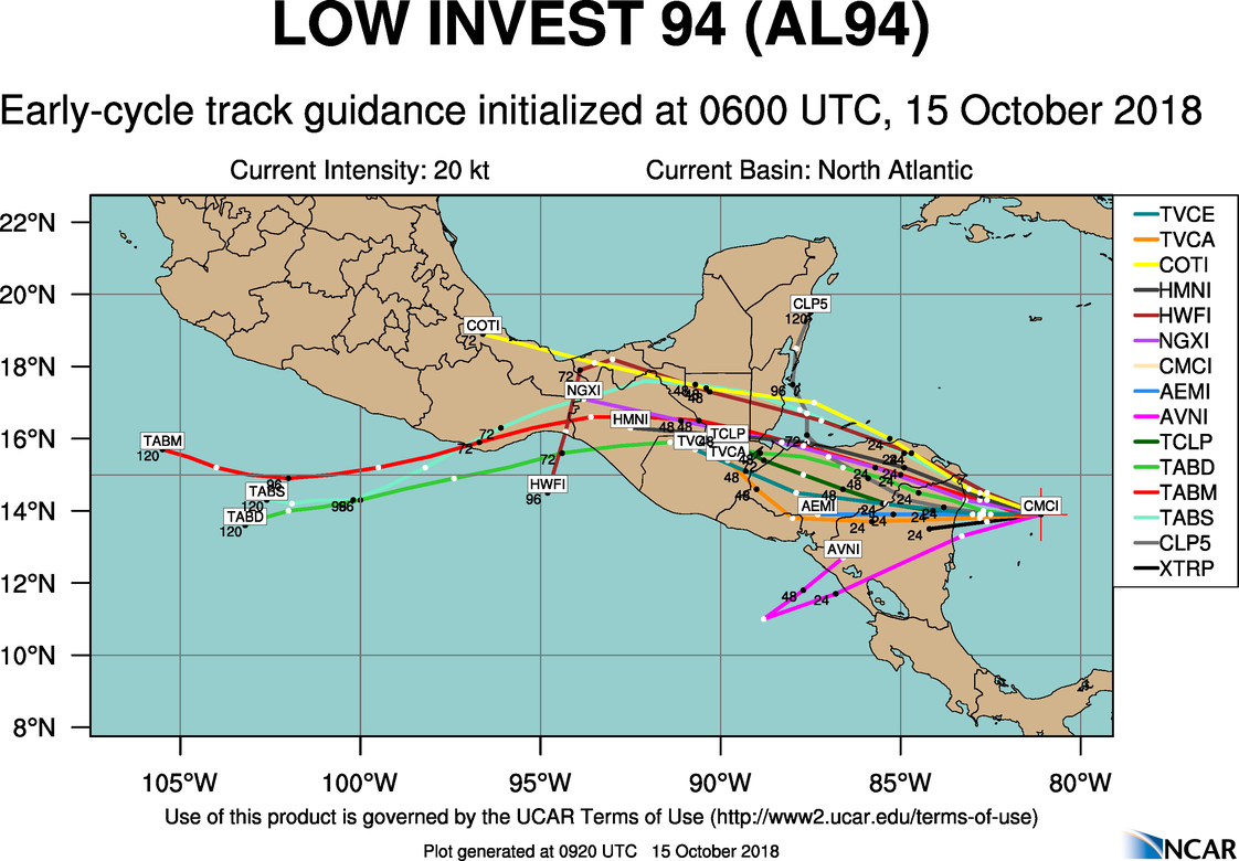 Invest 94L over the western Caribbean Sea will move west and in to Central America by tomorrow with minimal development expected. However, it is likely to bring heavy rain and the threat of flooding to the region.